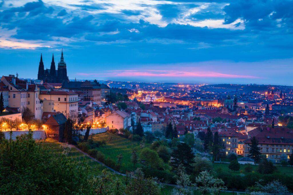 Prague Castle and Skyline at night